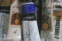 a selection of acrylic paints