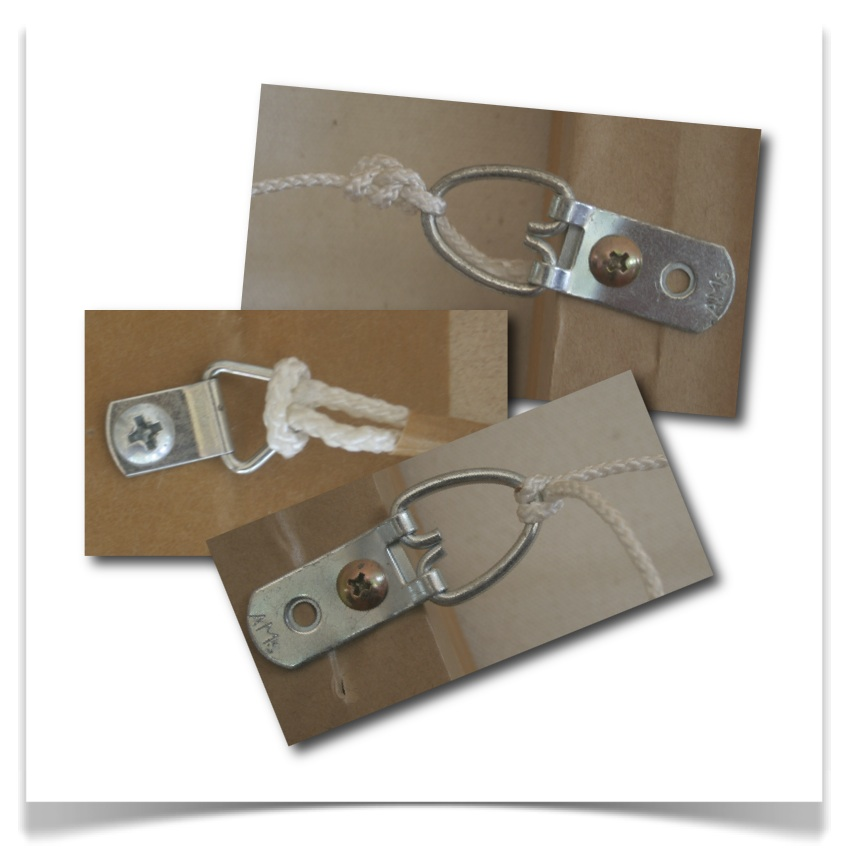 Use good quality, strong d-rings for the back of your paintings when you prepare art to sell.