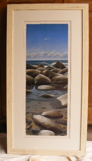 a framed acrylic painting on watercolor painting by Mark Waller
