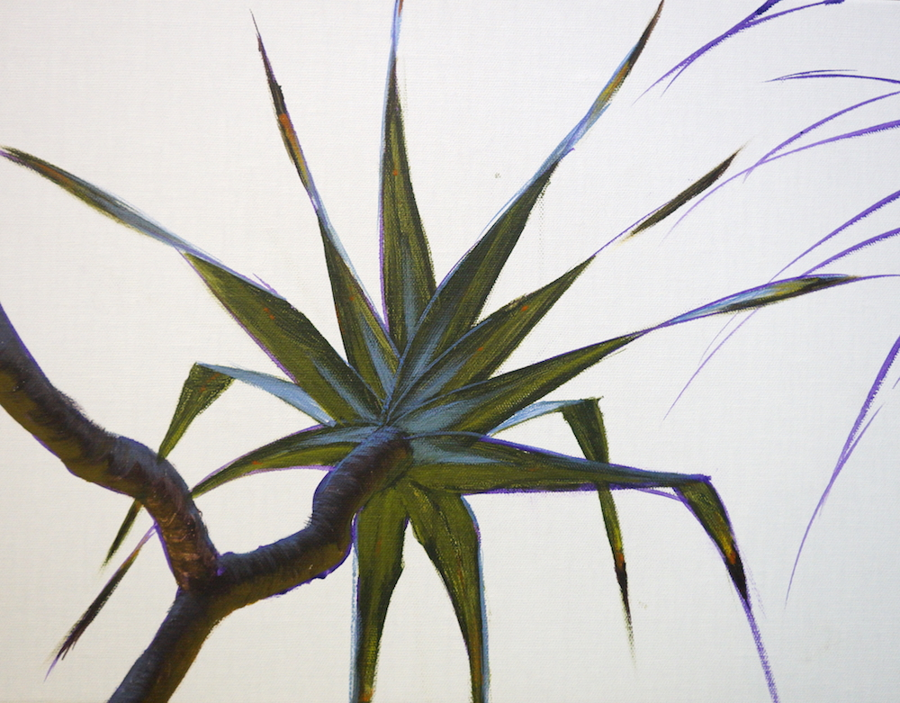 Mark Waller's painting pandanus - adding reflections to leaves