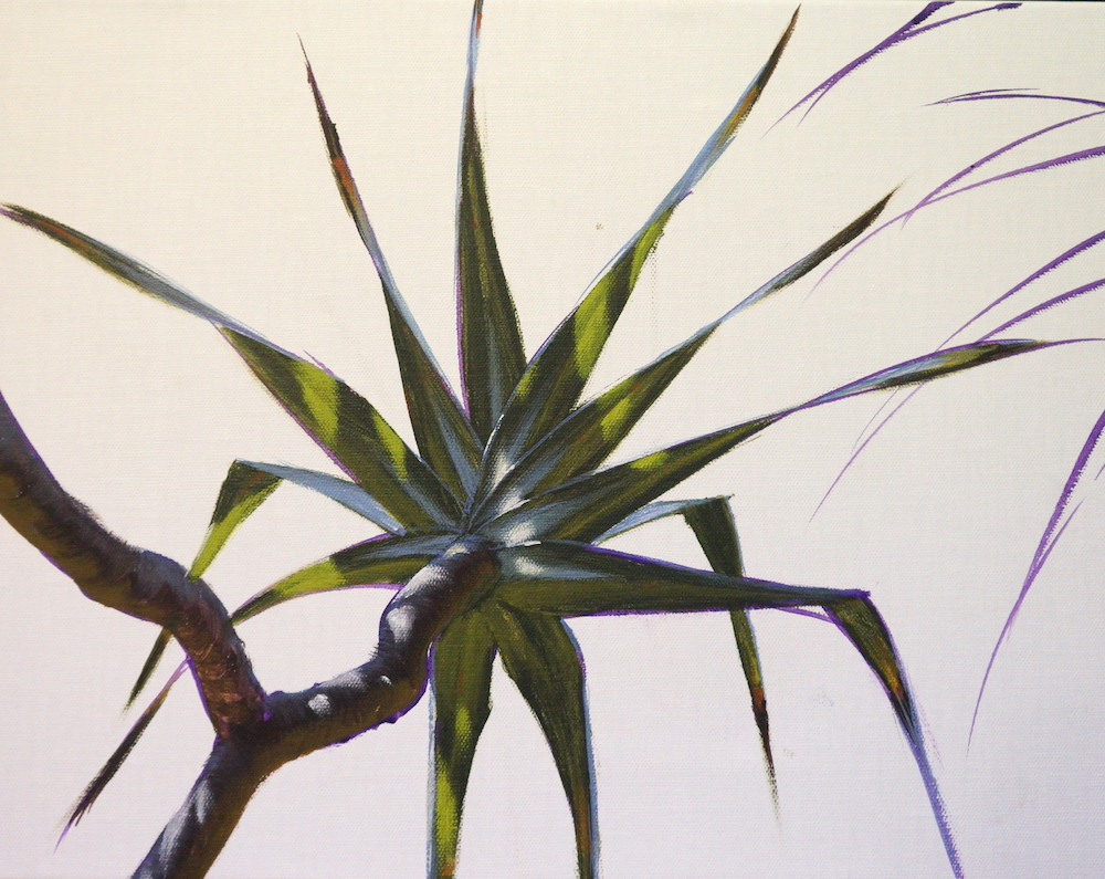 Mark Waller's painting pandanus, adding highlights to leaves and trunks
