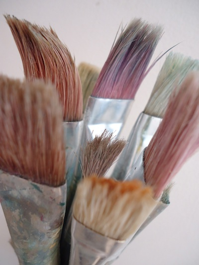 Use cheap brushes - acrylic painting tip - acrylics are tough on brushes!