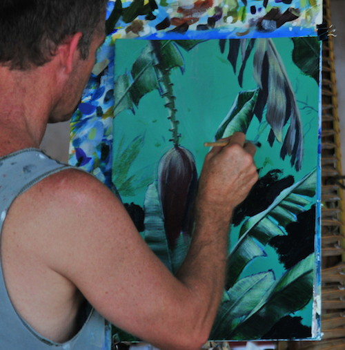 Mark Waller's tropical landscape, painted in situ in Fiji