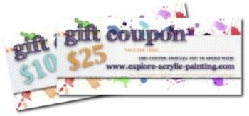 Click here for more info on our Gift Coupons - for the artist in the family.  Use on any item in the Explore Store.