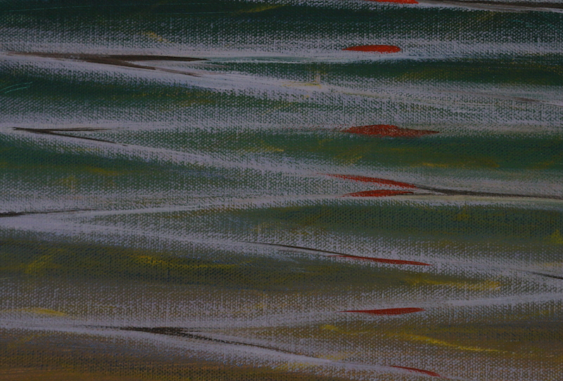 This example using a long, smooth brushstroke illustrates perfectly how a mood can be achieved (ie calm, smooth water in this example) using a particular brush stroke.