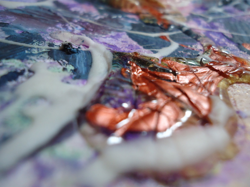 Using all sorts of texture in your paintings makes for an interesting beginning to your piece.