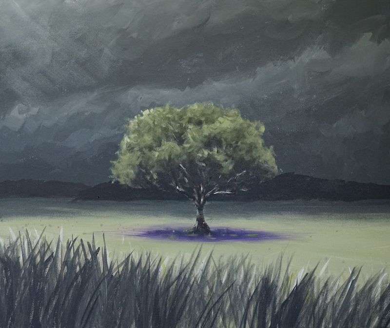 Creating mood with somber colours and minimal shift in tone, with a bright focal point.  Very effective!