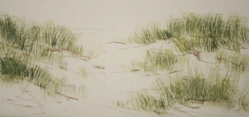 Dry Brush Technique Exercise - Step 4 - an exercise to create spinifex grass - shaping the sand dunes.