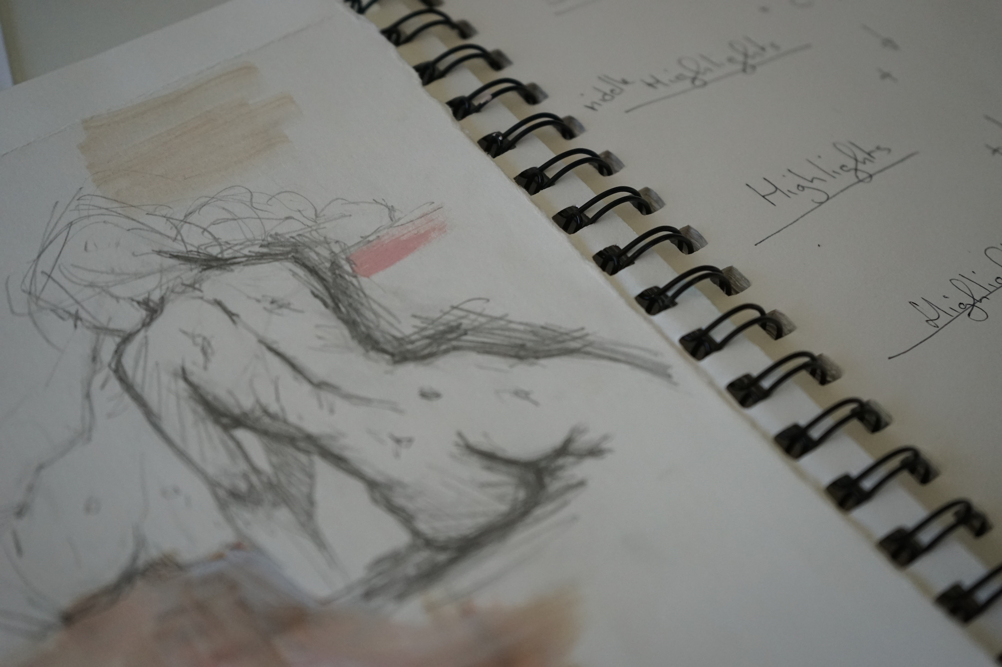 Keeping a visual diary to sketch or make notes in is a great tool for your painting practise. Sketch by Jasmine Waller, Mark's daughter.