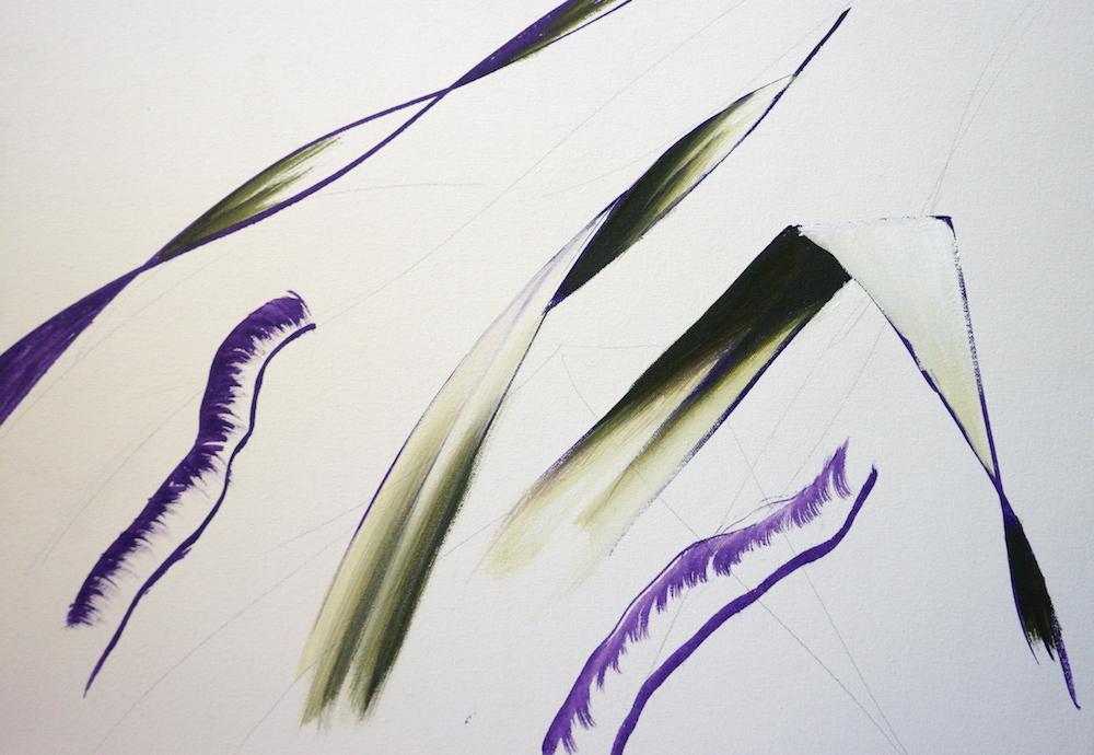 Mark Waller's painting pandanus - leaves, blending colours