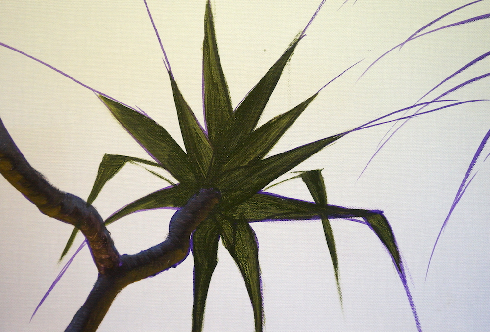 Mark Waller's painting pandanus tutorial, blocking in the leaves