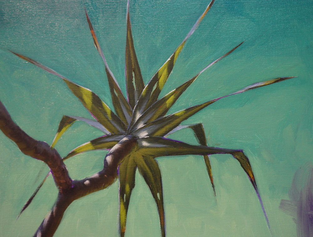 Mark Waller's painting pandanus - adding background to painting.
