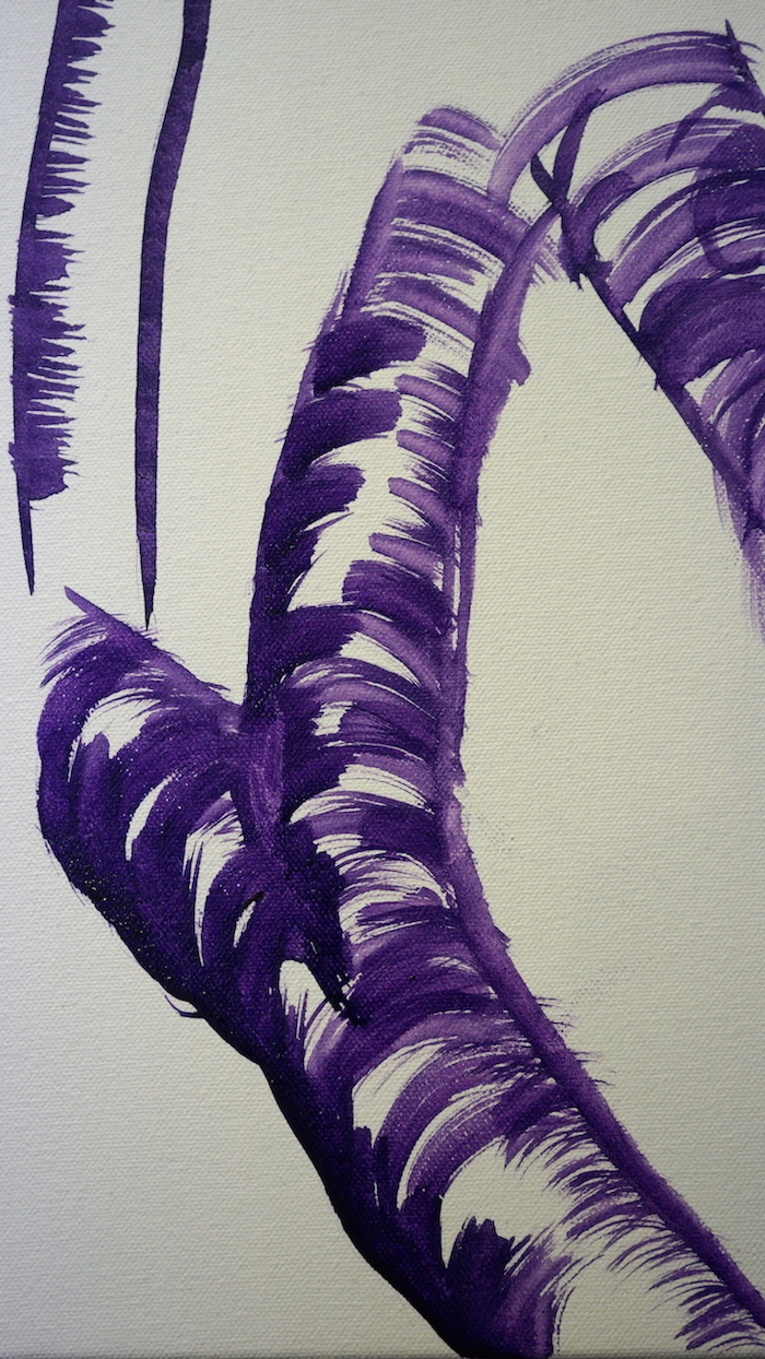 Mark Waller's painting pandanus, branches attaching to trunk