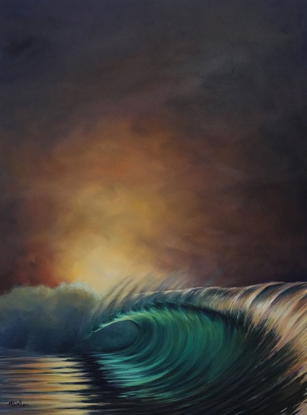 This loosely painted wave shows how in low light conditions the reflections are EVERYWHERE!