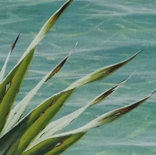Painting Pandanus - leaf detail, holes and dead ends.