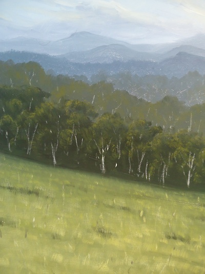 An example of atmospheric perspective in painting with Mark Waller, showing how mountains in the distance appear less distinct due to particles in the atmosphere.