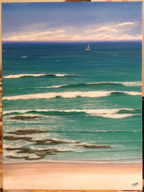 Paula Martyn's seascape, painted after attending Mark Waller's Sunshine Coast workshop, Everyone Wants To Paint Water - Take 2!