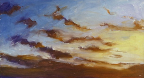 Mark's sunset painting demo - get some colour down.