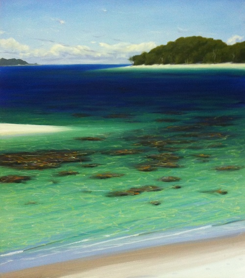 Mark's Tropical Beach is the latest in his series of v-logs, downloadable video tutorials.  Learn how to paint this gorgeous tropical beach scene with only 4 short episodes.