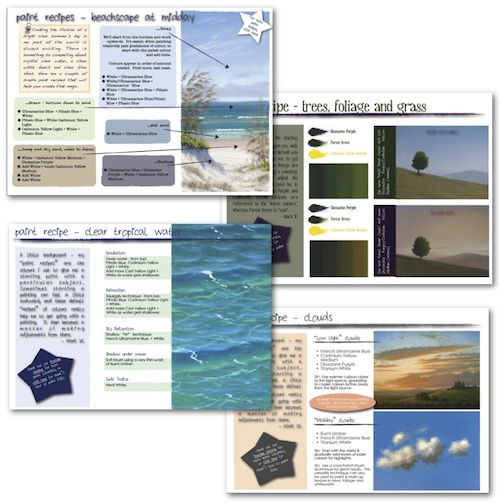 Your free support PDFs include recipes for tropical water, clouds, trees, foliage, grass and an entire beachscape!  Value!