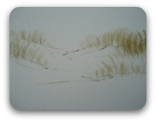 Create subtle effects using a feather touch and very little pigment on your paintbrush.