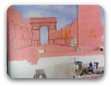 how to paint a mural - blocking in