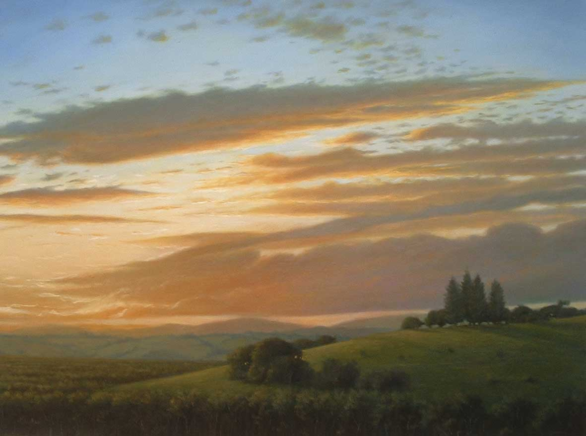 Mark Waller's landscape painting, Majesty, glorious sunset over the land.
