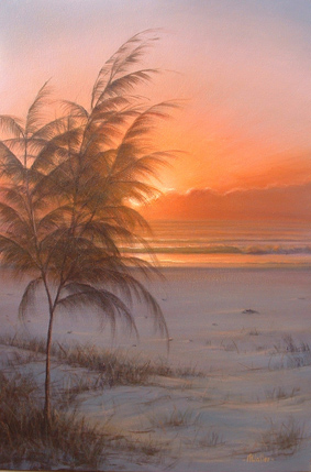 Mark Waller's beachscape painting, Opportunity, a glorious new day dawns over the sand dunes.