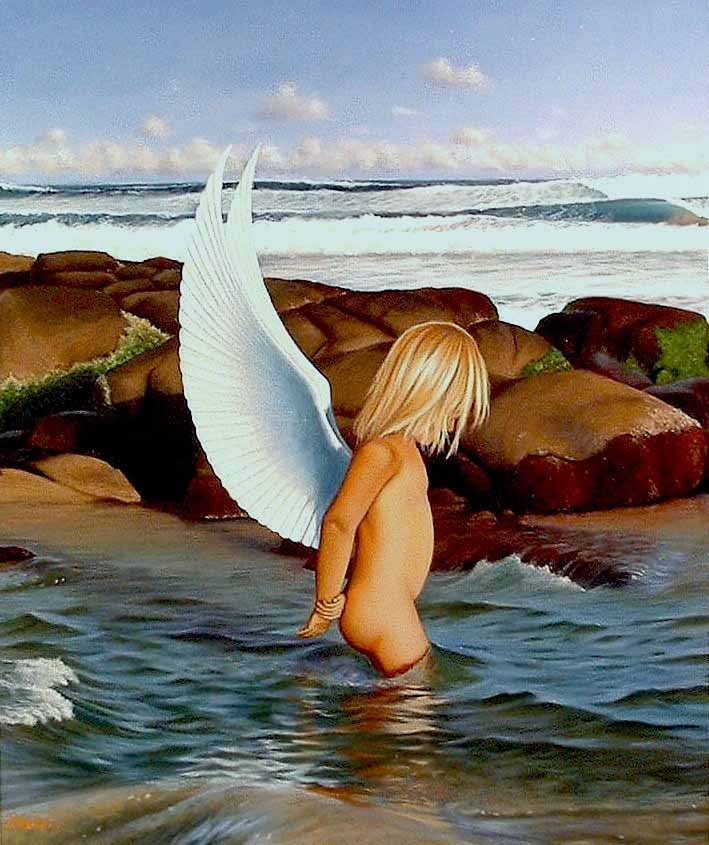 Mark Waller's seascape painting, Rockpool Angel, innocence of youth exploring a rockpool.