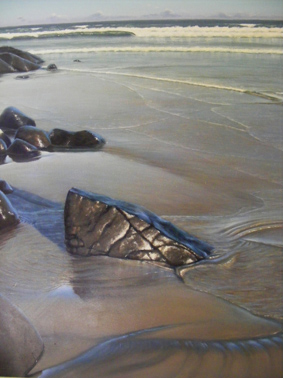 Mark Waller's beachscape painting, The God's In The Details, wet rocks on a beach, swirling water, beautiful light.