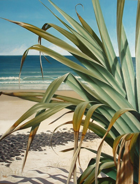 Mark Waller's painting, The Sweet Smell of Roses, a highlit pandanus, sunny day on the beach.
