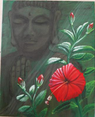 Red Hibiscus and Buddha