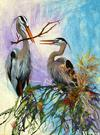 Great Heron, Acrylic on Wallpaper
