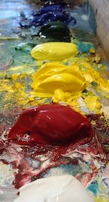 Goopy, Gooey, Gloops of colorful fun!  Acrylic paints rule!