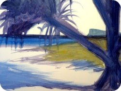 free painting lesson, how to paint a beach landscape