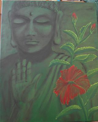 Buddha and Hibiscus