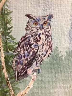 Owl on Burlap - owl