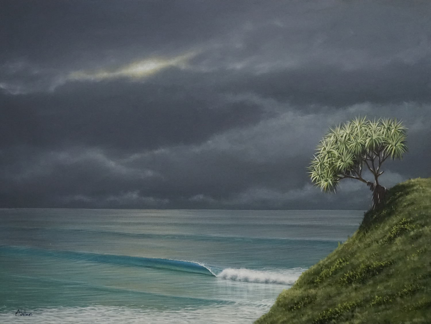 Another beautiful example of painting a storm.  Creating mood with flashes of light and colour in the foreground.