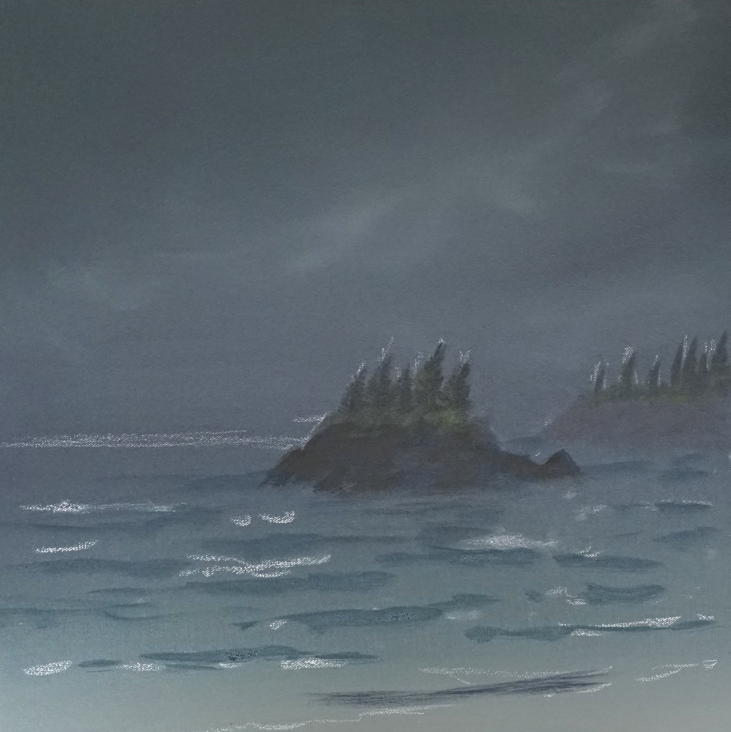 Blocking in the rocks and waves and starting to paint some movement and wind to suggest storm conditions.