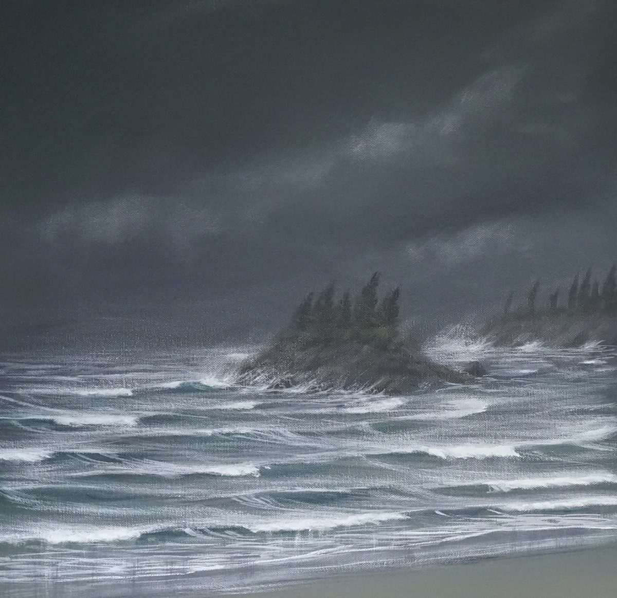 Adding reflections, windspray and directional effects with brush technique to enhance the idea of stormy conditions.