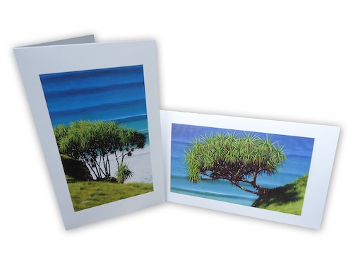 Mark Waller's iconic pandanus are now available as a 2-pack of blank image cards.  Grab yourself a couple of packs today for the perfect complement to your next gift.