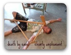 death by easel is clearly an unpleasant experience
