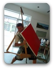 wrestling with your portable easel is not as much fun as this looks :)